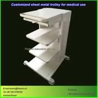 Sheet Metal Treatment Cart Medical Trolley with Casters